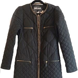 Just Cavalli Long Quilted Coat Chain Detailing